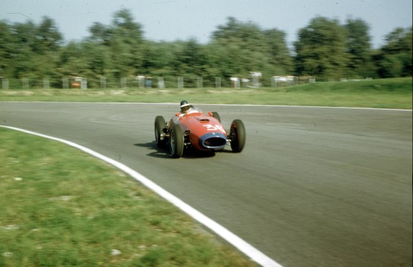 1957 Italian Grand Prix.Monza, Italy.6-8 September 1957.Mike Hawthorn in Wolfgang von Trips' (Lancia-Ferrari D50 801) in practice. He finished finished the race in 6th position.Ref-57 ITA 01.World Copyright - LAT Photographic