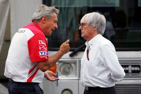 (L to R): Jean Paul Driot (FRA) DAMS Boss talks with Bernie Ecclestone (GBR) F1 Supremo  Formula One World Championship, Rd 10, European Grand Prix, Qualifying Day, Nurburgring, Germany, Saturday 21 July 2007.