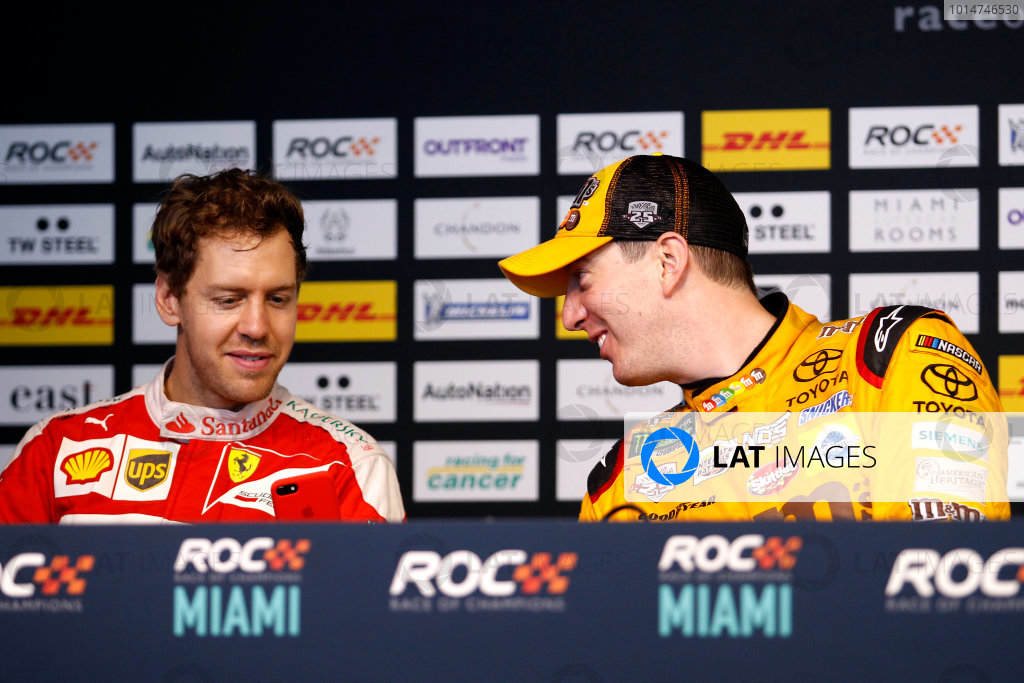 2017 Race of Champions Miami, Florida, USA Sunday 22 January 2017 Press Conference with Sebastian Vettel and Kyle Busch World Copyright: Alexander Trienitz/LAT Photographic ref: Digital Image 2017-RoC-MIA-AT2-3303