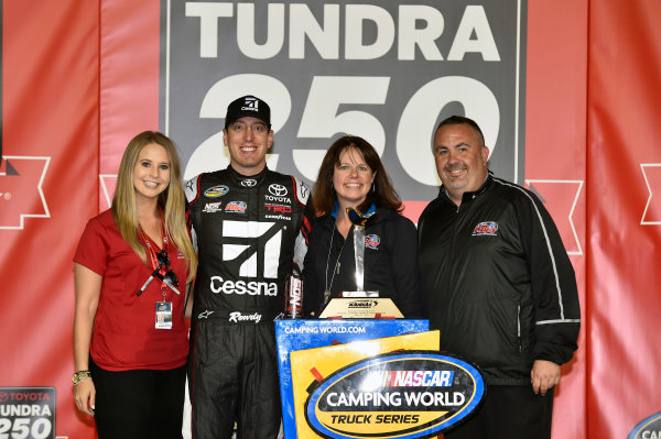 NASCAR Camping World Truck Series Toyota Tundra 250 Kansas Speedway, Kansas City, KS USA Friday 12 May 2017 Kyle Busch, Cessna Toyota Tundra celebrates his win in Victory Lane World Copyright: Nigel Kinrade LAT Images ref: Digital Image 17KAN1nk07238