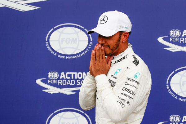 Autodromo Nazionale di Monza, Italy. Saturday 02 September 2017. Lewis Hamilton, Mercedes AMG, after securing a record breaking 69th pole position. World Copyright: Zak Mauger/LAT Images  ref: Digital Image _56I7669