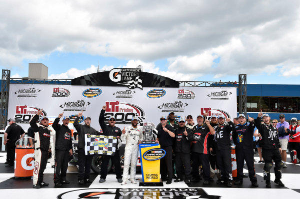 NASCAR Camping World Truck Series LTI Printing 200 Michigan International Speedway, Brooklyn, MI USA Saturday 12 August 2017 Darrell Wallace Jr, Maestro's Classic Chevrolet Silverado celebrates in Victory Lane World Copyright: Nigel Kinrade LAT Images