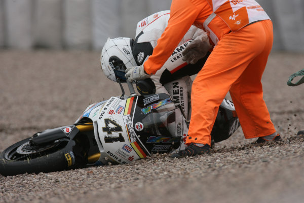 Germany Sachsenring 16-18 July 2010Home favourite Arne Tode Racing Team Germany Suer crashes out of the Moto2 race