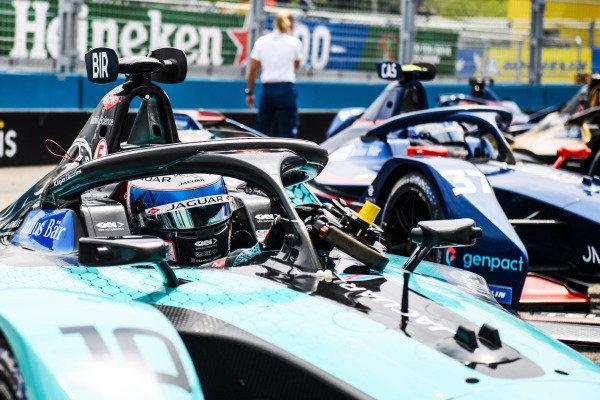 Sam Bird (GBR), Jaguar Racing, Jaguar I-TYPE 5, 1st position, arrives in Parc Ferme