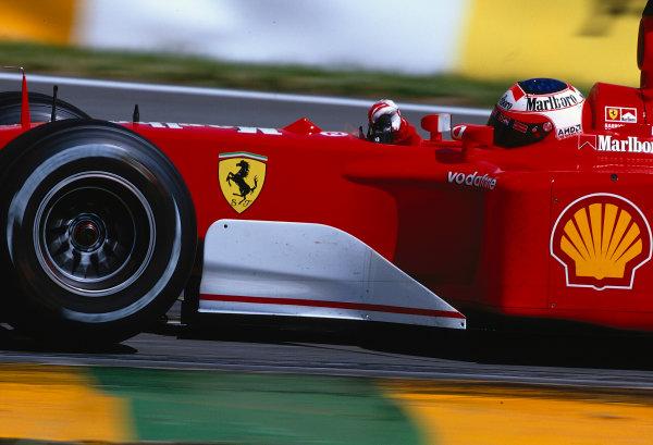 2002 Brazilian Grand Prix, Interlagos, Brazil.29th - 31st March 2002.Rubens Barrichello runs the old 2001 Ferrari chassis at his home Grand Prix.World Copyright: Coates/ LAT PhotographicRef: 35mm Transparency A17