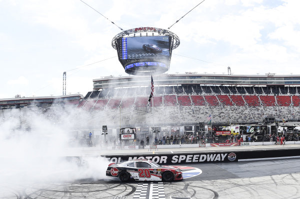 #20: Christopher Bell, Joe Gibbs Racing, Toyota Supra Rheem, does a burnout after winning