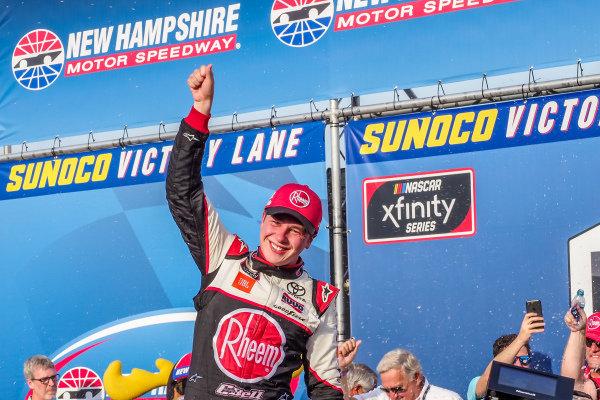 #20: Christopher Bell, Joe Gibbs Racing, Toyota Supra Rheem-Watts in victory lane