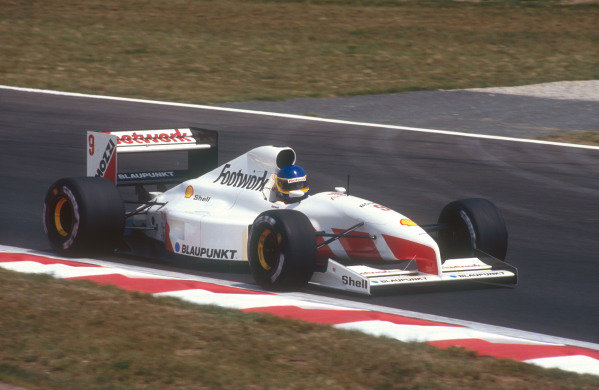 1991 French Grand Prix.Magny-Cours, France.5-7 July 1991.Michele Alboreto (Footwork FA12 Ford). He exited the race with a gearbox failure.Ref-91 FRA 15.World Copyright - LAT Photographic