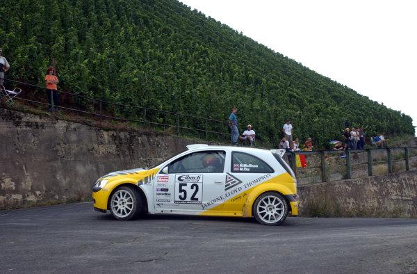 2002 World Rally Championship.ADAC Rallye Deutschland, Trier, August 22-25.Niall McShea in the JWRC Opel Corsa Super 1600 on Stage 5.Photo: Ralph Hardwick/LAT
