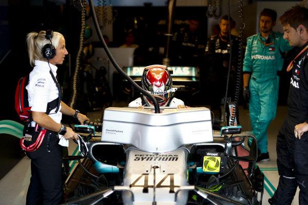 Lewis Hamilton, Mercedes AMG F1, settles into his seat