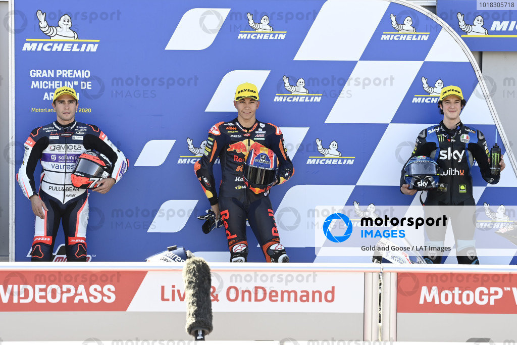 Polesitter Raul Fernandez, Red Bull KTM Ajo, second place Albert Arenas, Aspar Team, third place Celestino Vietti Ramus, Sky Racing Team VR46.