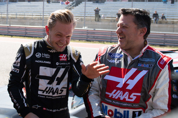Kevin Magnussen, Haas F1, and former NASCAR driver Tony Stewart