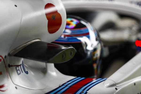 A poppy on the airbox of Lance Stroll, Williams Racing.