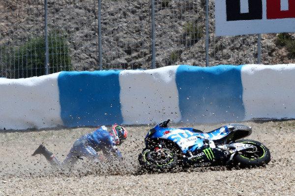 Alex Rins, Team Suzuki MotoGP crash.