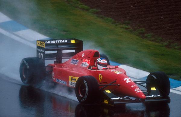1992 Spanish Grand Prix.Catalunya, Barcelona, Spain.1-3 May 1992.Jean Alesi (Ferrari F92A) 3rd position.Ref-92 ESP 20.World Copyright - LAT Photographic