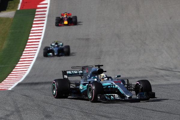 Lewis Hamilton (GBR) Mercedes-Benz F1 W08 Hybrid at Formula One World Championship, Rd17, United States Grand Prix, Race, Circuit of the Americas, Austin, Texas, USA, Sunday 22 October 2017.
