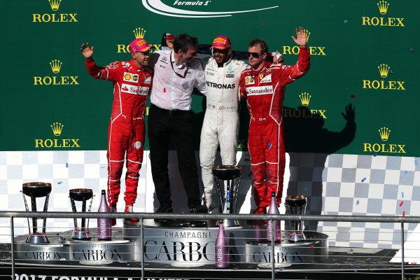 Race winner Lewis Hamilton (GBR) Mercedes AMG F1 celebrates on the podium alongside Sebastian Vettel (GER) Ferrari, James Allison (GBR) Mercedes Technical Director and Kimi Raikkonen (FIN) Ferrari at Formula One World Championship, Rd17, United States Grand Prix, Race, Circuit of the Americas, Austin, Texas, USA, Sunday 22 October 2017.