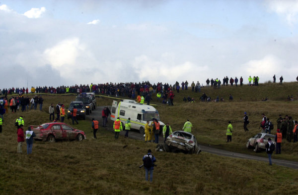 2002 World Rally Championship.Network Q Rally of Great Britain, Cardiff. November 14-17. The aftermath of three cars crashing out on Stage 10, Halfway 1.Photo: Ralph Hardwick/LAT