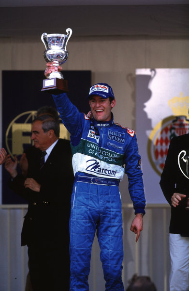 2001 F3000 ChampionshipMonte Carlo, Monaco. 26th May 2001Race winner Mark Webber, Super Nova Racing - podium.World Copyright: Clive Rose / LAT Photographicref: 35mm Image A15