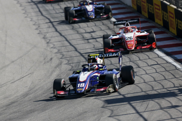SOCHI AUTODROM, RUSSIAN FEDERATION - SEPTEMBER 29: Pedro Piquet (BRA, Trident) and Marcus Armstrong (NZL, PREMA Racing) during the Sochi at Sochi Autodrom on September 29, 2019 in Sochi Autodrom, Russian Federation. (Photo by Joe Portlock / LAT Images / FIA F3 Championship)