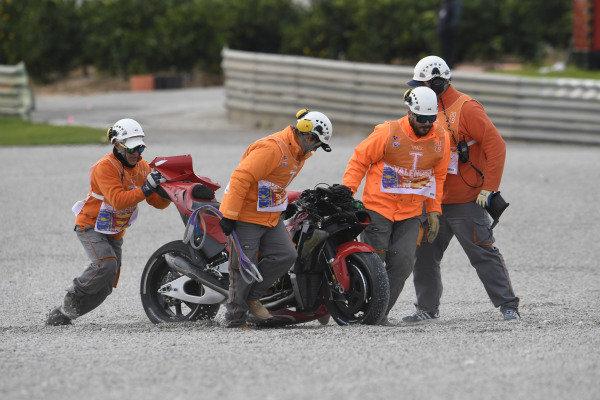 Andrea Iannone, Aprilia Racing Team Gresini crashed bike