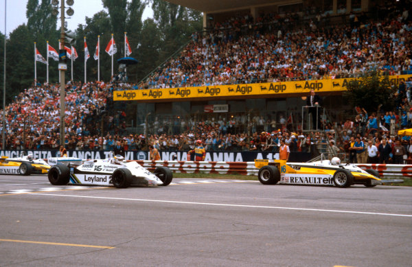 1981 Italian Grand Prix.Monza, Italy.11-13 September 1981.Rene Arnoux (Renault RE30) leads Carlos Reutemann (Williams FW07C Ford) and Alain Prost (Renault RE30) at the start.Ref-81 ITA 03.World Copyright - LAT Photographic