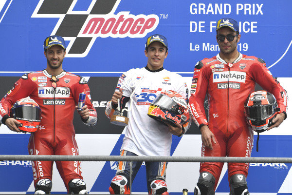 Podium: race winner Marc Marquez, Repsol Honda Team, second place Andrea Dovizioso, Ducati Team, third place Danilo Petrucci, Ducati Team.