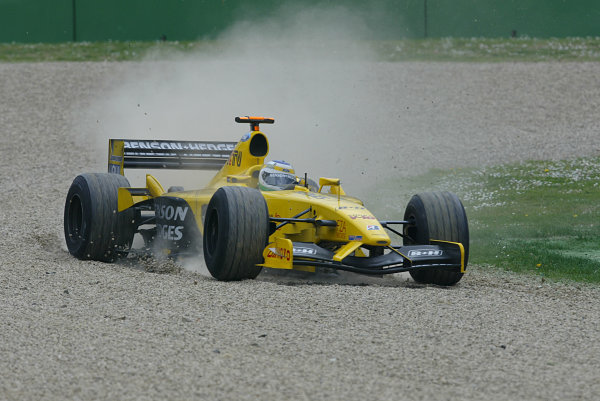 2003 San Marino Grand Prix - Sunday Race,Imola, Italy.20th April 2003.Giancarlo Fisichella, Jordan Ford EJ13, goes off into the gravel.World Copyright LAT Photographic.ref: Digital Image Only.