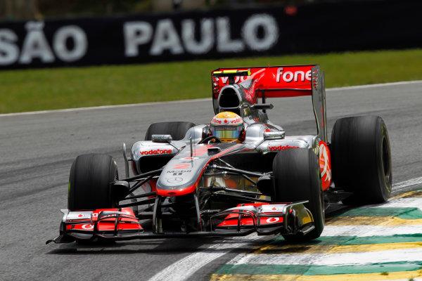 Interlagos, Sao Paulo, Brazil. 5th November 2010. Lewis Hamilton, McLaren MP4-25 Mercedes. Action.  World Copyright: Andrew Ferraro/LAT Photographic ref: Digital Image _Q0C7932