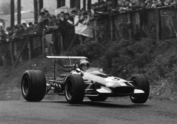 Nurburgring, Germany. 4 August 1968.Jochen Rindt, Brabham BT26-Repco, 3rd position, action.World Copyright: LAT PhotographicRef: Autosport b&w print