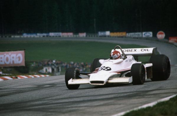 Osterreichring, Zeltweg, Austria.12-14 August 1977. Ian Ashley (Hesketh-Ford 308E), DNQ, action. World Copyright: LAT Photographic.Ref:  77AUT26.