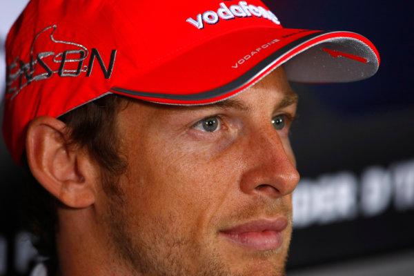 Autodromo Nazionale di Monza, Monza, Italy.9th September 2010.Thursday Press Conference. Jenson Button, McLaren MP4-25 Mercedes. Portrait. World Copyright: Charles Coates/LAT Photographicref: Digital Image _26Y8815