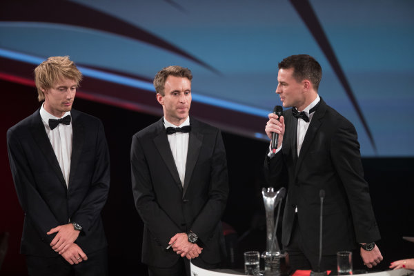 2017 Autosport Awards Grosvenor House Hotel, Park Lane, London. Sunday 3 December 2017. WEC Champions Brendon Hartley, Timo Bernhard and Earl Bamber on stage. World Copyright: Joe Portlock/LAT Images  ref: Digital Image _R3I6361
