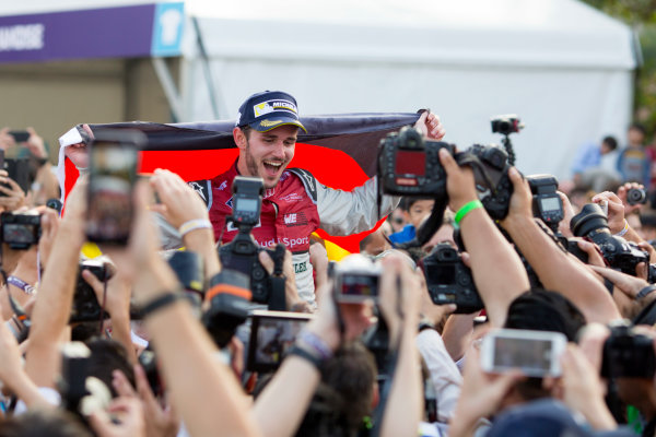 2017/2018 FIA Formula E Championship. Round 2 - Hong Kong, China. Sunday 03 December 2017. Daniel Abt (GER), Audi Sport ABT Schaeffler, Audi e-tron FE04, celebrates after winning the race. Photo: Alastair Staley/LAT/Formula E ref: Digital Image 580A9422