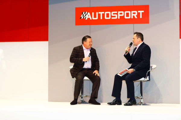 Autosport International Exhibition. National Exhibition Centre, Birmingham, UK. Thursday 11th January 2017. Zak Browb, is interviewed by Henry Hope-Frost, on the Autosport Stage.World Copyright: Ashleigh Hartwell/LAT Images Ref: _R3I6582