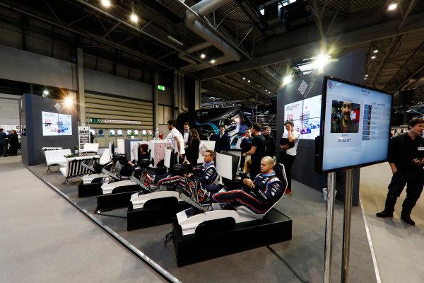 Autosport International Exhibition. National Exhibition Centre, Birmingham, UK. Thursday 11th January 2018. Drivers try the Bahrain International Circuit simulators.World Copyright: Glenn Dunbar/LAT Images Ref: _31I1983