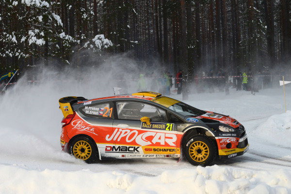 Martin Prokop (CZE) and Michal Ernst (CZE), Ford Fiesta RS WRC on stage 10. FIA World Rally Championship, Rd2, Rally Sweden, Karlstad, Sweden, Day Two, Saturday 9 February 2013.