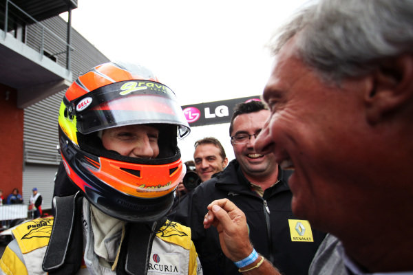 (L to R): Roman Grosjean (FRA) DAMS celebrates his third  position and GP2 Title with Jean-Paul Driot (FRA) DAMS Boss. GP2 Series, Rd 8, Race 1, Spa-Francorchamps, Saturday 27 August 2011.