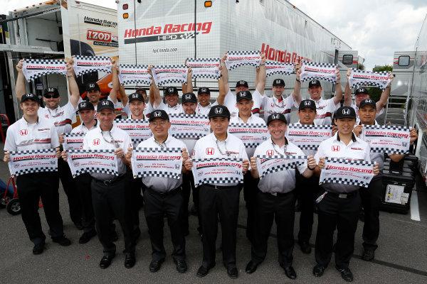 4-7 July, 2013, Long Pond, PA, USA Honda HPD engineers celebrate their 200th IndyCar win © 2013, Michael L. Levitt LAT Photo USA.
