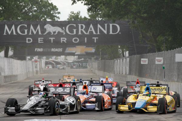 2 June, 2013, Detroit, Michigan, USA Dario Franchitti, Charley Kimball and Mike Conway on a restart. ©2013, Todd Davis LAT Photo USA
