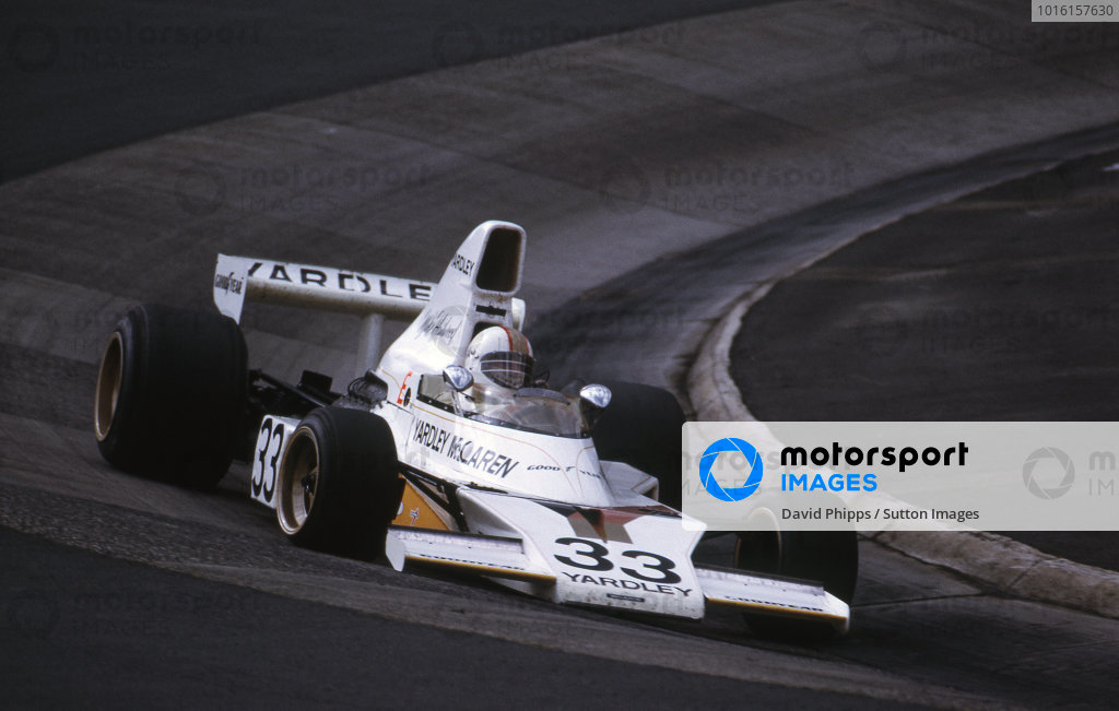Mike Hailwood (GBR) McLaren M23 crashed heavily at Pflanzgarten on the thirteenth lap, suffering leg injuries that ended his F1 career. Formula One World Championship, German Grand Prix, Rd 11, Nurburgring, Germany, 4 August 1974.