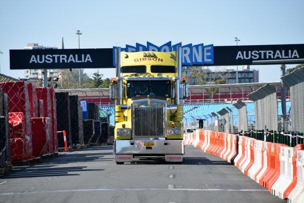 Freight and truck.Formula One World Championship, Rd1, Australian Grand Prix, Preparations, Albert Park, Melbourne, Australia, Sunday 9 March 2014.