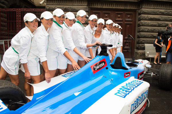 Grid girls and Swisse Two Seater at Melbourne Town Hall. Formula One World Championship, Rd1, Australian Grand Prix, Preparations, Albert Park, Melbourne, Australia, Tuesday 11 March 2014.