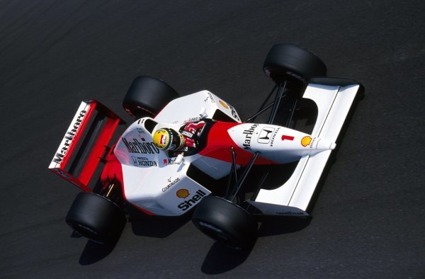 Race winner Ayrton Senna (BRA) McLaren MP4/7A.