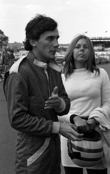 Ayrton Senna da Silva (BRA) with his wife Liliane. RAC Formula Ford 1600 Championship, Silverstone, England, 21 June 1981.