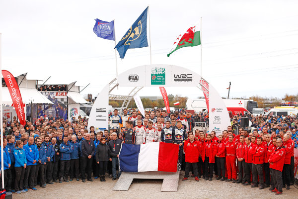 2015 World Rally Championship, Round 13, Rally of Wales GB, 12th - 15th November, 2015 WRC drivers, co-drivers and teams paying tribute to the victims of Paris attacks.   Worldwide Copyright: McKlein/LAT