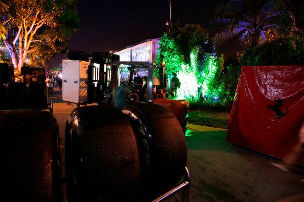 Sepang International Circuit, Sepang, Kuala Lumpur, Malaysia. Sunday 30 March 2014. Ferrari tyres in the paddock wait to be packed away. World Copyright: Charles Coates/LAT Photographic. ref: Digital Image _N7T8976
