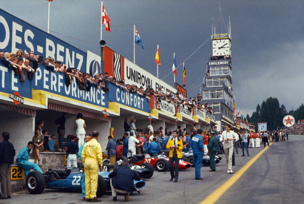 Spa-Francorchamps, Belgium. 10-12 June 1966. A very busy pit lane at Spa.  Ref: 66BEL02. World Copyright: LAT Photographic