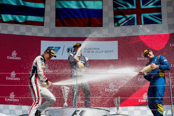 2017 FIA Formula 2 Round 5. Red Bull Ring, Spielberg, Austria. Sunday 9 July 2017. Alexander Albon (THA, ART Grand Prix), Artem Markelov (RUS, RUSSIAN TIME) and Oliver Rowland (GBR, DAMS).  Photo: Zak Mauger/FIA Formula 2. ref: Digital Image _54I0368