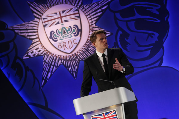 2014 BRDC Annual Awards The Grand Connaught Rooms, London, UK Monday 8 December 2014. Jake Humphrey on stage. World Copyright: Ebrey/LAT Photographic. ref: Digital Image Humphrey-02